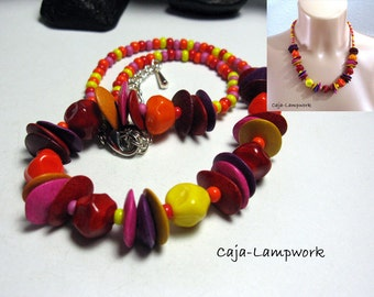 Short, red orange-pink Lampwork necklace with ceramic chips, bright candy colors, Nuggets