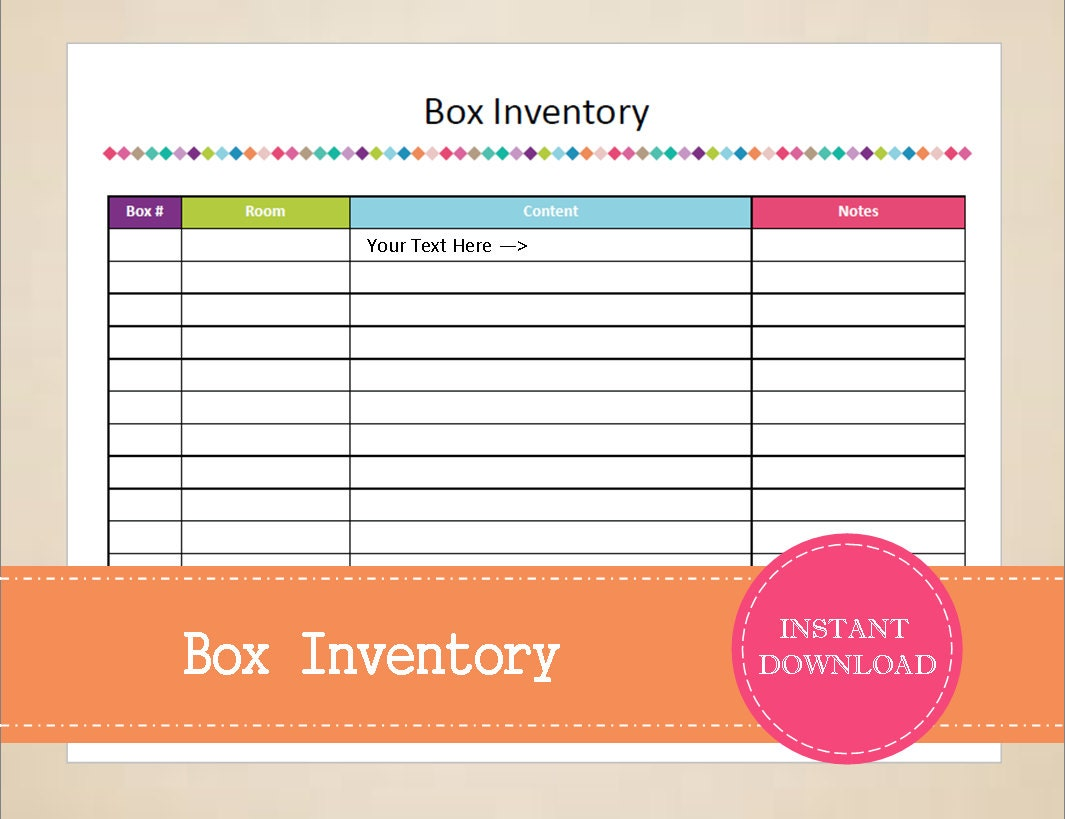 packing list box inventory packing planner moving planner inventory tracker storage planner printable and editable instant pdf