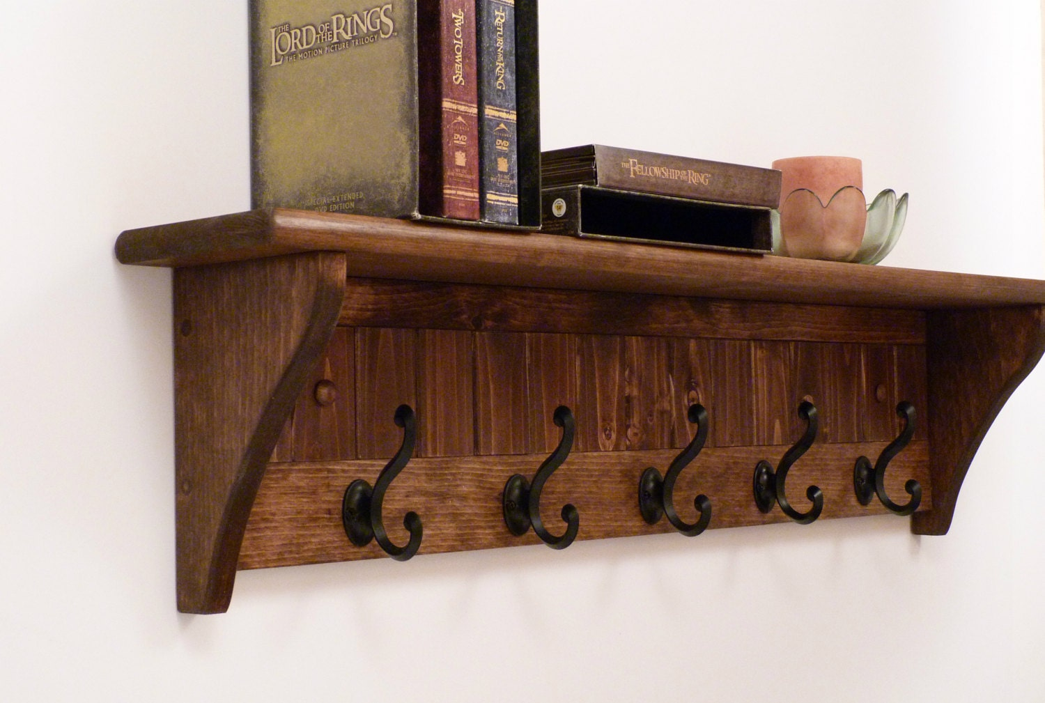 entryway coat rack wood wall shelf 35 inches color