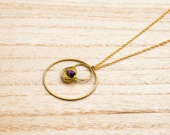 Necklace gold, large circle and Pearl violet wood twisted wire aluminium