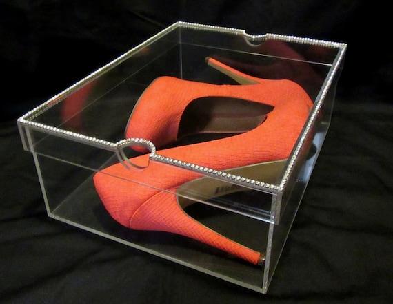 Acrylic Shoe Boxes : Rhinestone acrylic shoe box dazzlebox glam
