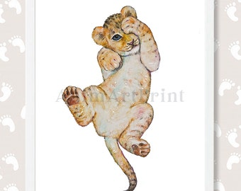 Lion Painting Lion Cub Art Print Baby Lion Watercolor Safari Nursery Printable Art Safari Nursery Decor Safari Animal Print Digital Download