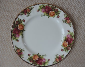 Six Royal Albert Old Country Rose Salad Plates Vintage 1962