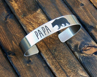 "PAPA Bear Stainless Steel Cuff -add YOUR HANDWRITING - or - your text, inside engraving too- 7"" cuffs for men- Father's Day Gifts"