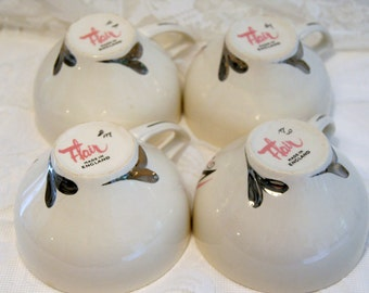 Set of 4 Fabulous 1950's Flair Teacups with Silver Hearts.Made in England.