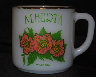 Vintage Province of Alberta Souvenir Milk Glass Mug