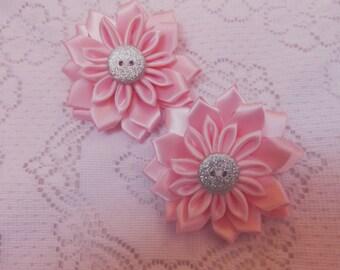 Kanzashi flower hair clip, children's pink flower hair clip