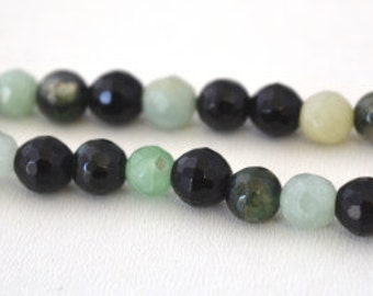 6mm Green Black Agate Faceted Round Gemstone Bead 1 strand 60 PCs, Hole Size 1mm Natural, healing chakra, birthstone for Jewelry Making