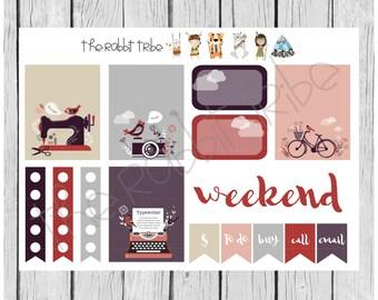 Weekly sticker set - vintage, retro items, bike, typewriter, camera, sewing machine - planner stickers
