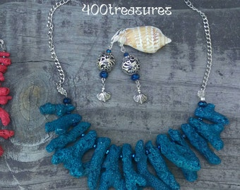 Mermaid Blue Coral Necklace & Earrings Set
