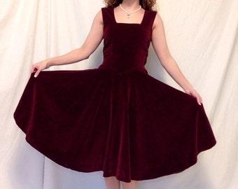 1940's Burgundy Velvet Dress / vintage 1940's dress / 1940's dresses
