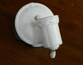 Porcelain Sconce, Antique Porcelain Light, Vintage White Sconce, Pull Chain Sconce, Cottage Chic Light, Vintage Lighting, Salvaged Light