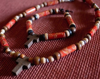 Handmade Tibetan Cross Necklace and Bracelet set
