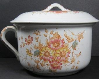 "JHW & Sons Hanley Semi Porcelain Lidded Chamber Pot ""Daisy"" Pattern Reduced!"