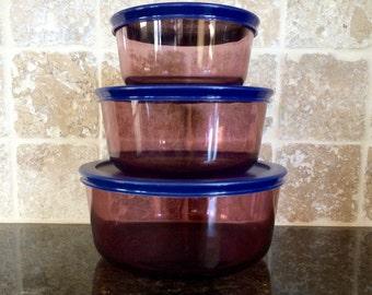 Vintage 6 Piece Rare Pyrex Cranberry Glass Storage Bowls Nesting Set with Blue Plastic Lids