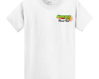 Chewz Brands White ZAP Cubez Cotton T-Shirt Apparel Gear - Size Medium and XL
