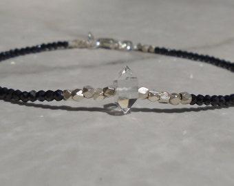 Black Spinel Bracelet, Herkimer Diamond Bracelet, Gemstone Bracelet, Black Bracelet, Black Anklet, Dainty Bracelet, sterling silvet