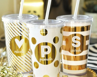 Personalized Metallic Foil Tumblers - Bridesmaids Gifts - Birthday Gifts