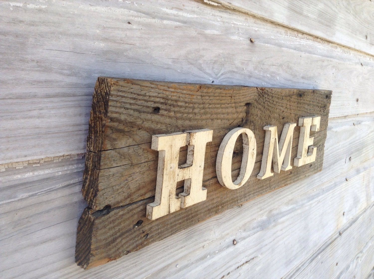 Reclaimed Wood Home Sign Distressed Rustic Home Decor