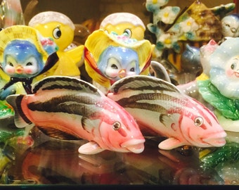 Ucagco Figural Tropical Fish Salt and Pepper Shakers made in Japan circa 1950's