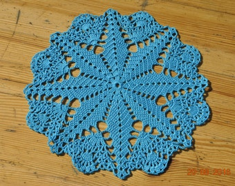Crochet doily / Lace / Turquoise / 8.2 inches (21 cm)