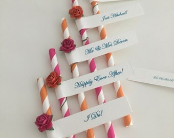 Personalised Straws with Mulberry Roses