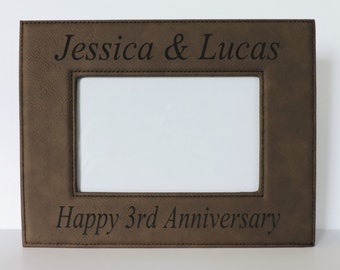 3rd Anniversary Leather Gift, Leather Photo Frame for Anniversary , Forever Me Gifts