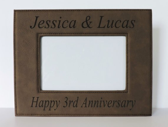 Gift For 3rd Wedding Anniversary: 3rd Anniversary Leather Gift Leather Photo Frame For