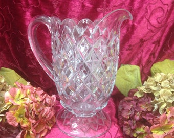 Vintage Cut Glass Water Pitcher