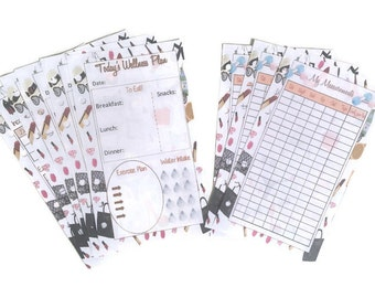 A5, Personal Filofax size, LV Inspired Inserts Health Tracker, Weight Loss tracker, Meal Planner, workout goal