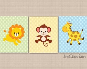 Safari Nursery Decor,Jungle Animals Wall Art,Zoo Animals Nursery Wall Art,Pastel Nursery Monkey Lion Giraffe,Nursery Decor-UNFRAMED 3 C265