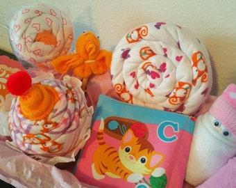 17-Piece Bright Kittens Baby Shower Gift Basket