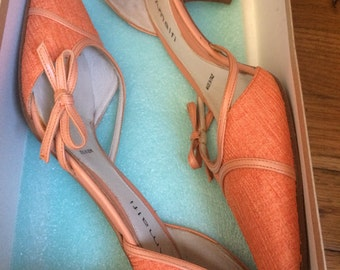 Amalfie linen and leather slingback pumps in original box