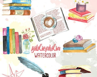 Bibliophile watercolor handpainted clip art: books, reading, library, teacher, bookworm, reader
