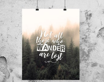 All who wander are not lost, Not all who wander are lost sign, Not all those who wander are lost, Wander are lost art | 8 x 10 | 11 x 14