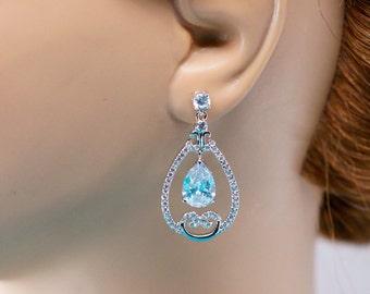 Bridal Earrings, Bridesmaid Earrings, Wedding Jewelry, Bridal Jewelry, Teardrop Earrings, Cubic Zirconia, Wedding Earrings, Dangle Earrings