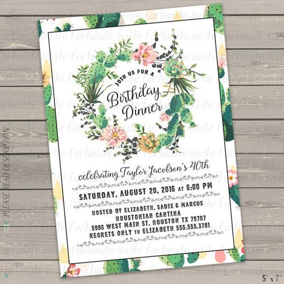 Birthday Dinner Invitation Succulent Invitation Printable