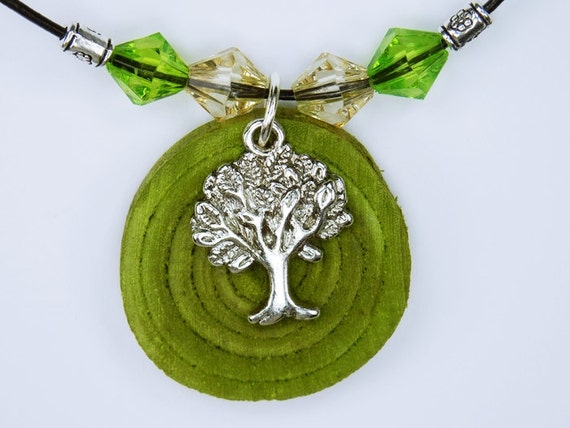 Necklace Tree of life made of green olive wood with silver tree pendant and pearls in green jewelry wood Jewelry