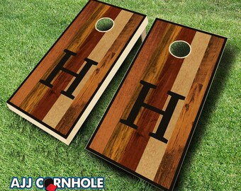 monogram stained cornhole set with bags cornhole set stained cornhole set monogram - Corn Hole Sets