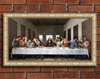 "Leonardo da Vinci ""The Last Supper"" Framed Canvas Giclee Print (MD393-05 Silver Finish) - Free Shipping"