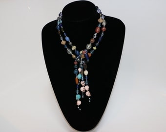 Skull Knot Necklace - Blue and Pink