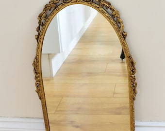Vintage Ornate Style Gold Metal Framed Rectangle Wall Mirror