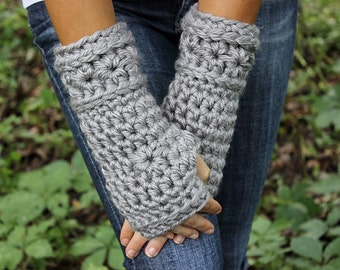 Grey Fingerless Gloves, Grey Gloves, Grey Mittens, Grey Crochet Gloves,Grey Arm Warmers, Grey Crochet Gloves, Grey Wristwarmers,THE STARLING