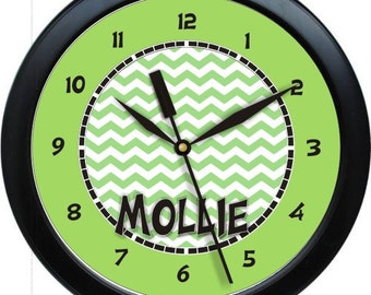 "Green Chevron 10"" Wall Clock Personalized Girls Room Decor Gift"