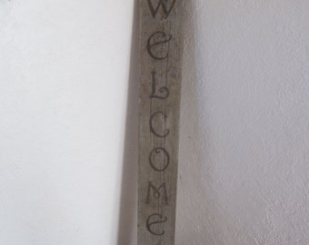 Upright Wood Burned Welcome Sign