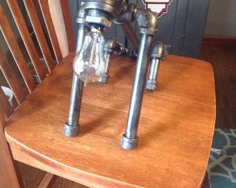 Steampunk pipe dog industrial lamp