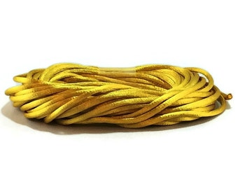 Gold Satin Rattail #2 / Gold Satin Cording / 3mm Gold Cording / Gold Rattail / Gold Cording / 20' Cording