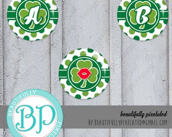 St.Patty's Day Alpha - St. Patrick's Day - A-Z Alphabet Set - Digital Collage Sheet - 1 Inch Circles for Bottlecaps, Hair Bows, Pendants