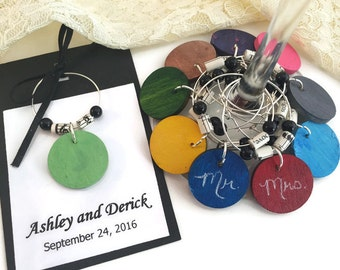 Music Themed Wedding Favors, CUSTOM COLOR Chalkboard Wine Glass Charms with Sheet Music Paper Beads, Music Wedding Decorations, Music Party