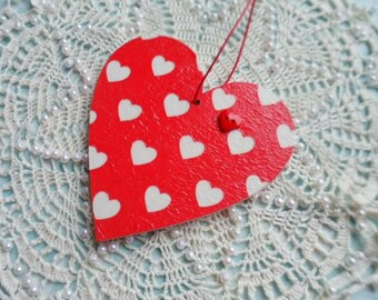 Shabby Chic Hanging Heart in Cath Kidston Mini Hearts Red Print